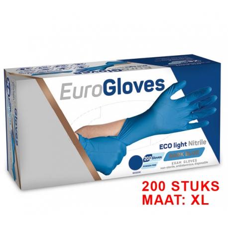 Nitrile EuroGloves handschoenen blauw Maat: L (200stuks)